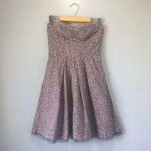 American Eagle Tulle Hem Strapless Floral Dress